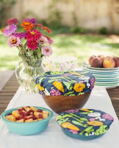 Sweet oil cloth bowl covers.