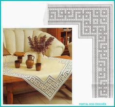 Diy Crafts - It is a website for handmade creations,with free patterns for croshet and knitting , in many techniques & designs. Filet Crochet, Crochet Borders, Crochet Diagram, Knit Crochet, Crochet Patterns, Crochet Tablecloth Pattern, Crochet Potholders, Crochet Doilies, Mandala Rug
