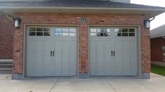 Clopay Coachman in Custom Gateway Grey with Clear Windows Garage Doors For Sale, Commercial Garage Doors, Garage Office, Detached Garage, Red Bricks, Garages, Shutters, Curb Appeal, Exterior