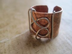 Metal and Wire Unique Copper Heart Ring by Jane  - featured on Jewelry Making Journal