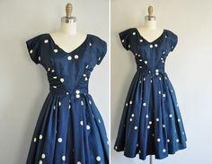 50s dress / vintage 1950s dress / 50s silk polka designer dress.  via Etsy.
