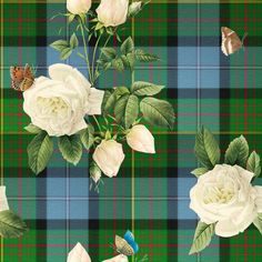 """""""Caledonian Floral Tartan"""" for wallpaper, gift wrap and fabric by lilyoake on Spoonflower - easy and affordable print on demand"""