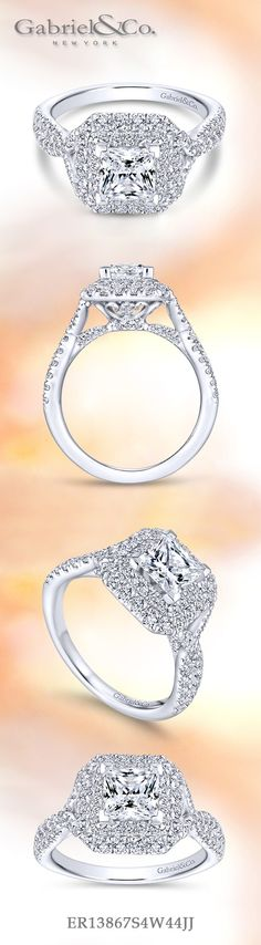 Gabriel & Co.-Voted #1 Most Preferred Fine Jewelry and Bridal Brand. 14k White Gold Princess Cut Double Halo Engagement Ring