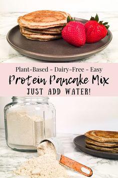 Protein Pancake Mix - Just Add Water! (Vegan, Dairy-Free, Oil-Free) Protein Pancake Mix - Just Add Water! Healthy Pancake Mix, Vegan Protein Pancakes, Dairy Free Pancakes, Healthy Vegan Breakfast, Vegetarian Protein, Vegetarian Cooking, Easy Cooking, Vegan Keto, Vegan Foods