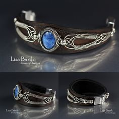 Hand woven wire work in sterling silver and hand cut, dyed and tooled leather bracelet to go with it.  -  Lisa Barth