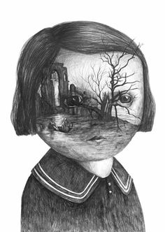 Drawings by Stefan Zsaitsits.  Dark, somber, air of disturbance...something about this reminds me of Emily Dickinson...the face?
