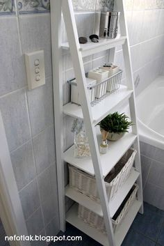 Small Bathroom Storage Solutions and Shelving Ideas bathroom ideas shelving s .Small Bathroom Storage Solutions and Shelving Ideas bathroom ideas shelving s . Small Bathroom Storage Solutions and Shelving Ideas bathroom ideas Small Bathroom Organization, Bathroom Storage Shelves, Home Organization, Bedroom Storage, Bathroom Storage Ladder, Storage Ideas For Bathroom, Bath Storage, Storage Bins, Ikea Ladder Shelf