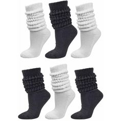 Black & White All Cotton 6-Pack Extra Heavy Super Slouch Socks ($33) ❤ liked on Polyvore featuring intimates, hosiery, socks, fuzzy, slouchy socks, slouch socks, cotton slouch socks, thick slouch socks and thick fuzzy socks