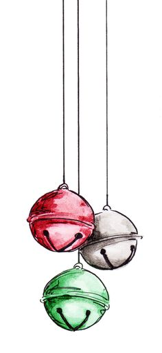 Change of Art: Silver Bells (and a freebie!)Our Change of Art: Silver Bells (and a freebie! Watercolor Christmas Cards, Christmas Drawing, Christmas Paintings, Watercolor Cards, Christmas Sketch, Christmas Doodles, Watercolor Painting, Noel Christmas, Christmas Crafts