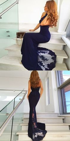 prom dress evening dress, navy blue mermaid long prom dress evening dress party dress P3145