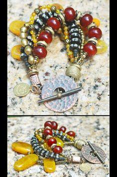 Dalai Lama Bracelet: Yellow Agate Carnelian Brass & Tibetan Prayer Bead Statement Bracelet Maroon Color Palette, Tibetan Prayer Beads, Dalai Lama, Tribal Jewelry, Carnelian, Bracelet Making, Jewelry Collection, Agate, Dangle Earrings