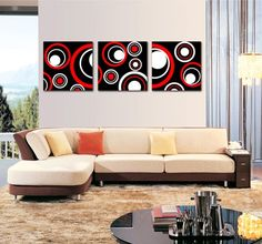 Spirit Up Art Huge Red and Black and White Abstract Art Circles Picture Painting on Canvas Print Stretched and Framed, Modern Home Decorations Wall Art set of 3 Each is Triptych Wall Art, Canvas Wall Art, Wall Art Prints, Canvas Prints, Black And White Wall Art, Black And White Abstract, Black White, Oil Painting Abstract, Abstract Canvas