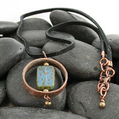 Hammered Copper  Pipe Ring Pendant with Blue Glass by LizRose1967, $45.00