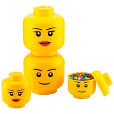These LEGO® Storage Heads are fun to look at and practical, too! Simply lift off the top to reveal storage space inside. They can store any number of things beyond LEGO® bricks, such as toys, game remotes and DVDs. Since they're food safe, they can also be used to serve popcorn or snacks at a party.
