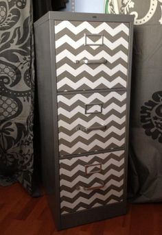 LOVE THID IDEA and it is SO EAST Chevron filing cabinet made with chevron print contact paper, #DIY, #Chevron
