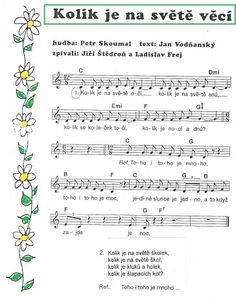 písničky pro děti - Hledat Googlem Kids Songs, First Day Of School, Music Notes, Ukulele, Sheet Music, Kindergarten, Preschool, Bullet Journal, Teaching
