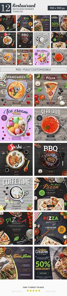 Food & #Restaurant #Instagram Banners - #Social Media Web Elements Download here: https://graphicriver.net/item/food-restaurant-instagram-banners/20295967?ref=alena994