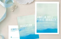 minted wedding invitation, ombre in deep cyan by linda and harriet