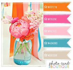 Pink orange turquoise - color board for girl's bedroom