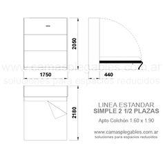 Mueble Cama 2 1/2 Plazas Rebatible Simple Apto Para Colchón 1.60 X 1.90