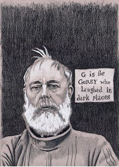 pencil sketch of Edward Gorey - Bruce Gerlach