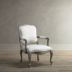 Birch Lane Stratton Arm Chair, Stone - This arm chair features fluted legs, a solid Chinese walnut frame, and arm pads for extra comfort. Upholstered in a pale off-white and blue paisley fabric and finished in distressed, weathered grey, the traditional shape and details make this chair perfect for a formal dining room or living room.
