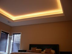 Simple Tray Ceiling With Crown Molding And Up Lighting