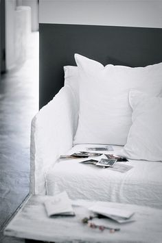 How izzie's bed must look tho maybe palest sky blue linen or heavy cotton  x stilinspiration.se