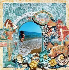 Scraps of Darkness scrapbook kits: Laura Gilhuly created this stunning mermaid / beach layout with the Graphic 45 Voyage Beneath The Sea papers and other items from our July 2016 kit 'An OceanTale'. Subscribe to our kits and have a new box of mixed media scrapbooking fun delivered to you each month!