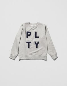 Playtype  PLTY Crew neck — Grey Melange € 120.00 Playtypes uni-sex sweater in grey melange with navy towelling letters is now again back in stock again. The classic long sleeve sweatshirt is made of a thick 100% cotton fabric with ribbed neckline, cuffs and hemline, and flatlocked seams. Letters; 'PLTY' on the front and 'AYPE' on the back.  Machine wash 40°. Typed in Nationale Bold. Buy it here: http://store.playtype.com/collections/stuff/products/plty-crew-neck-grey-heather