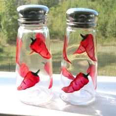 chili pepper decor | Hand Painted Glass Red Chili Pepper Salt and by blueelephant123, $14 ...