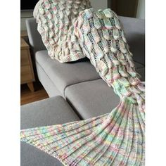 Fashionable Fish Scale Shape Mermaid Tail Design Knitting Blanket For Adult (COLORMIX) in Blankets & Throws | DressLily.com