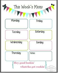 Free Printable - meal plan. Put in a frame, use white board marker