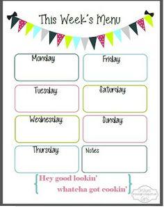 Weekly Menu Planner Template for Numbers Free iWork Templates Weekly Menu Template Print our weekly menu form Weekly Menu Planning Printable Pursuit of