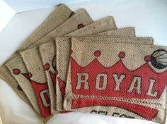 Placemats Recycled Hessian Coffee Bag  via Etsy.
