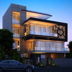 Beautiful Minimalist Architecture House in a Sloped Lot - Top House Designs 3 Storey House Design, Bungalow House Design, House Front Design, Modern House Design, Modern Bungalow Exterior, Modern House Facades, House Architecture Styles, Architecture Design, Home Building Design