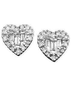 Diamond Earrings, 14k White Gold Diamond Heart Studs (1/8 ct. t.w.)