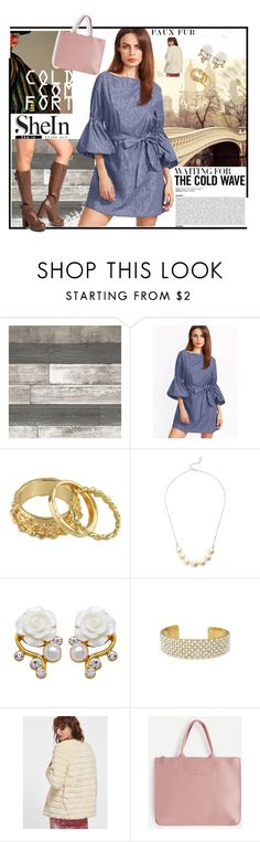 """""""Shein Bell Sleeve Blue Dress"""" by cirlylocks ❤ liked on Polyvore"""