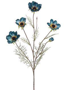 Dark Blue Silk Cosmos Spray | Silk Flowers | Afloral.com