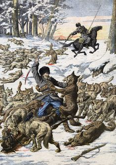 inch Canvas Print (other products available) - During the war with Japan, Russian sentries have another enemy to fight -- wolves ! Date: 1904 - Image supplied by Mary Evans Prints Online - Box Canvas Print made in the USA Fine Art Prints, Framed Prints, Canvas Prints, Apocalypse Art, Magnum Opus, Russian Art, Poster Size Prints, Photo Puzzle, Japan