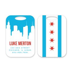 Chicago Personalized Luggage Tag by Peony Hill Press. These make great gifts for grads, dads, moms, newlyweds and more! #peonyhillpress #php #luggage #luggagetag #baggage #baggagetag #gift #newlywed #kid #grad #chicago #skyline #willistower