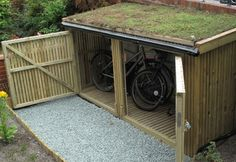 result for outdoor bike storage solutions Outdoor Bike Storage, Outside Storage, Bicycle Storage, Garage Velo, Bike Shelter, Bike Storage Solutions, Wood Store, Bike Shed, Lean To
