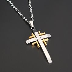 "30/"" Mens plata acero trenzado de bambú Cruz Colgante Collar Cadena de Caja de 18/"""