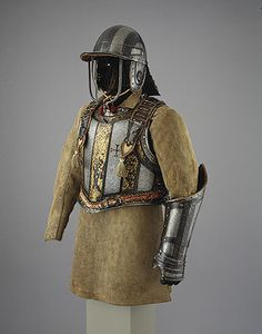 Harquebusier's Armor of Pedro II, King of Portugal (reigned with Buff Coat. Armour attributed to Richard Holden (recorded ca. Ancient Armor, Medieval Armor, Mode Masculine, Elmo, Elizabethan Era, Armadura Medieval, Landsknecht, Knight Armor, Conquistador