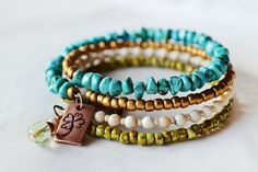 GET LUCKY natural stone Yoga bracelet with by MandalaFairy on Etsy, $51.00