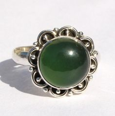 Solid 925 Sterling Silver Natural Green by RareGemsNJewels on Etsy