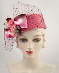 """Jackie Pillbox 2 3/4"""" crown, sisal straw, variegated silk ribbon & floral trim & veiling"""