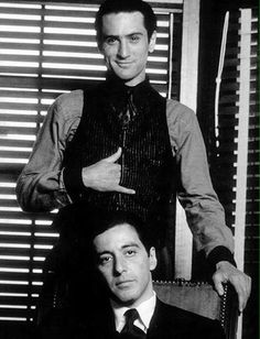 Portrait of Robert De Niro and Al Pacino for The Godfather II directed by Francis Ford Coppola, Photo by Steve Schapiro The Godfather Part Ii, Godfather Movie, Cinema Tv, I Love Cinema, People Always Leave, Don Corleone, Andy Garcia, Bon Film, Francis Ford Coppola
