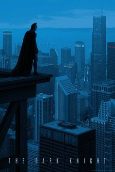 I love Rory Kurtz's stunning poster for Christopher Nolan's The Dark Knight. Featuring Batman as watchful guardian overlooking the vastness of [. Batman The Dark Knight, The Dark Knight Trilogy, Batman Dark, Im Batman, Batman Comics, Superman, Batman Robin, Gotham Batman, Dc Comics