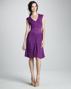 Mixed-Knit Pointelle A-Line Dress by Catherine Malandrino at Bergdorf Goodman.